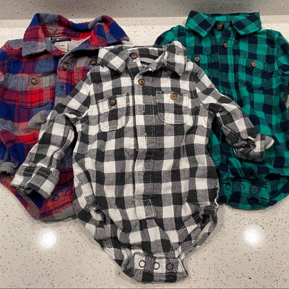 Baby Boy Flannel Onesie (6-9 months)